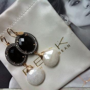 Örhängen - Sparkling Onyx & White Agate